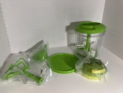 Tupperware Power Chef System Food Processor Chopper Mix Chop Whisk Green New