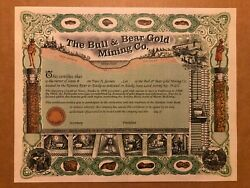 The Bull And Bear Gold Mining Co. Unissued Stock Certificate Circa 1990and039s Alaska