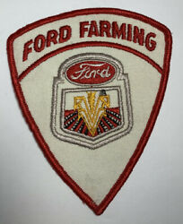 Vtg Ford Farming Patch Tractors Equipment Advertising Emblem Red White