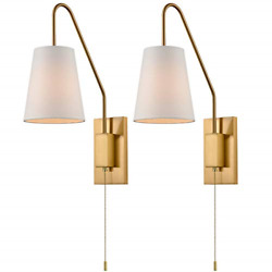 Modern Plated Brass Wall Sconces Fabric Shade Plug-in Bedroom Wall Lamp