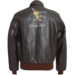 Size 42 Toys Mccoys A-2 Flight Jacket Sylvester Tweety Oh-kaye Baby Seal Brown