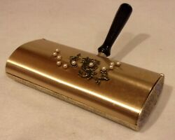 Vintag Silent Butler Table Sweeper Crumb Catcher Gold-brass Tone Floral + Pearls