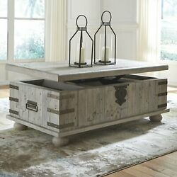Modern Lift Top Cocktail Coffee Table Wood White Gray Wash Living Room Tables