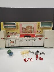 Vintage 1950and039s Marx Pretty Maid Tin Litho Toy Kitchen Set With Accessories