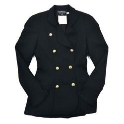 Double-breasted Jacket 36 Black Coco Mark Button Wool Size M