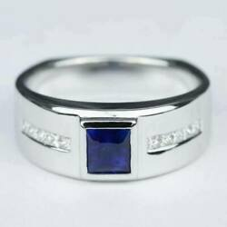 14k White Gold Classic Menand039s Engagement Wedding Channel Set Ring 1.85ct Sapphire