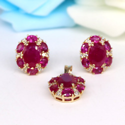 14k Gold Pendent With Earring Set With Ruby And Diamonds.