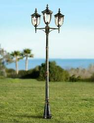 Outdoor Light Post Bronze Lanterns 96 Hammered Glass For Exterior House Porch