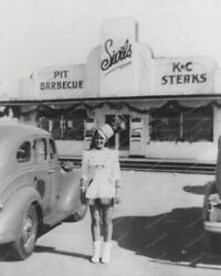 Majorette In Front Of Diner  8 - 10 Bandw Photo Reprint