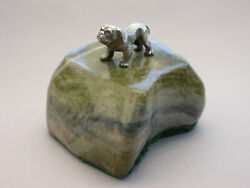 Early 20th Century Novelty Silver British Bulldog Paperweight Chester 1911