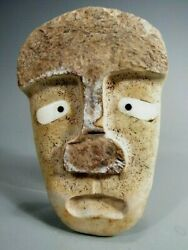 American Eskimo Northwest Indian First Nations Carved W/ Shell Inlaid Eyes Mask