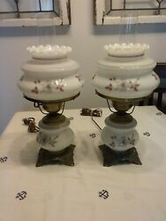 Vintage Accurate Casting Pair Grey And Mauve Floral Gwtw Hurricane Lamps