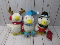 """G1 Lot Of 3 New Macy's 2014 Holiday Christmas 6"""" Talking Plush Aflac Duck"""