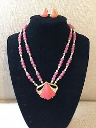 Givenchy Vtg Necklace Earrings Set Pink Faux Pearls 1980 Rare Choker 15