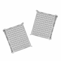 Round Simulated Diamond Square Stud Men's Earrings 925 Sterling Silver