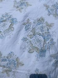 Simply Shabby Chic Fabric Cool Blue Cabbage Roses Full/ Queen Comforter Guc