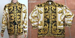 Gianni Versace Istante Silk Shirt Greek Goddess And Wild Print 90s New With Tags