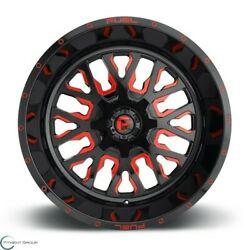 Set Of 4 New Fuel Offroad Stroke D612 24x14 6x135/6x139.70 -75 Gloss Red Wheel