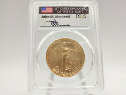 2016-w Pcgs Sp70 Burnished Gold Eagle First Day Issue W/ Mercanti Signature 966