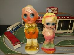 Vintage Flat Back Pinocchio And Big Eyed Baby Chalkware Carnival Prizes Lot Of 2