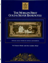 23kt Gold And Silver Unc 100 Antigua 1981 - Sir Frances Drake And Golden Hind