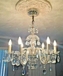 Exquisite Antique Italian 6 Arms Crystal Prisms Chandelier Lamp.