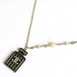 Necklace Perfume Botle Charm Black Gold Coco Mark Length 18.1 In.