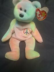 Ty Peace Bear Beanie Baby - Rare W Errors Original 1996 Excellent Condition