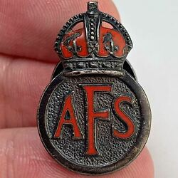 Ww2 Auxiliary Fire Service Afs National Brigade Sterling Silver Lapel Badge Jf24