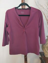 Relativity Womens L Purple Top Round Neck With V/buttons 3/4 Sleeve Euc