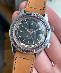 Vintage Enicar Sherpa Guide Automatic World Time Gmt Black Dial Steel Case Watch