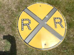 Vintage Steel Railroad Rr Crossing Advertising Road Sign With Reflectors