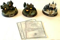 Lot Of 3 Thomas Kinkade Memories Of Home Lighted Cottage Collection Figurines