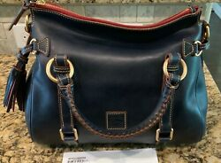 DOONEY AND BOURKE FLORENTINE Made in the USA SMALL SATCHEL NAVY NWT $250.00