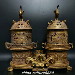 11zhan Dy Old Bronze Ware Gold Palace Double Phoenix Incense Burner Censer Pair