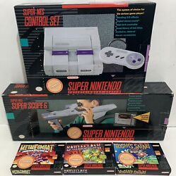 Super Nintendo Snes Console System Boxed Box Complete + Scope Not For Resale Set