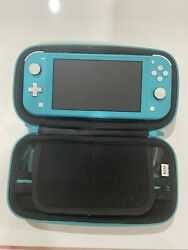 Nintendo Switch Lite Handheld Video Game Console Turquoise Teal Blue W/ Case