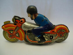 Vintage Ussr Russian Lmz Wind Up Litho Motorcycle Tin Toy - For Parts