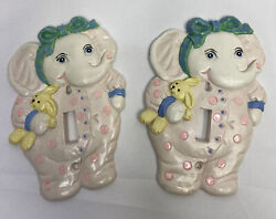 Vintage Ceramic Light Switch Covers Lot Of 2 Baby Elephant Nursery Wall Plate