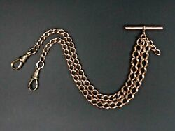 Antique 9 Ct Rose Gold Curb Link Pocket Watch Albert Chain C.1910 - 36.2 Grams