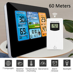 Wireless Lcd Indoor Outdoor Weather Station Clock Calendar Thermometer Humidity