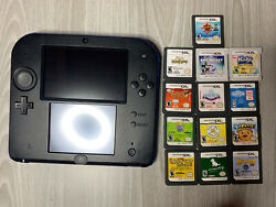 Nintendo 2ds Handheld Console Blue/black With 13 Games And Carrying Case