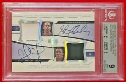 Stephon Marbury Jamal Crawford 2004 Exquisite Dual Patch Auto 2/2 Bgs 9 Mint