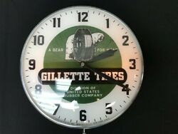 Gillette Tires Lighted Pam Clock Vintage Advertising Sign Bubble Glass