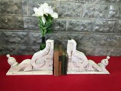 Pair White Wood Corbels Bookends Shelf Mantel Decor Architectural Brackets