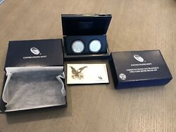 2012 S American Silver Eagle Two Coin Silver Proof And Reverse Set W/ Box And Coa