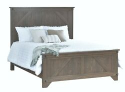 Amish Solid Wood Rustic Transitional Panel Bed Bolt Details King Queen Full