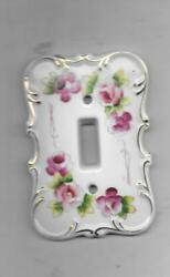 Vintage Porcelain Single Light Switch Cover -hand Painted Pink Roses W/gold Trim