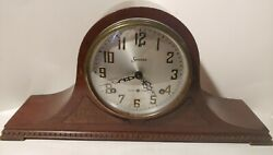 Antique Sessions Tambour Mantel Shelf Clock Westminster Chimes