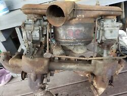 1941 Buick Compound Dual Carb Intake Split Dual Exhaust Manifold And Air Cleaner
